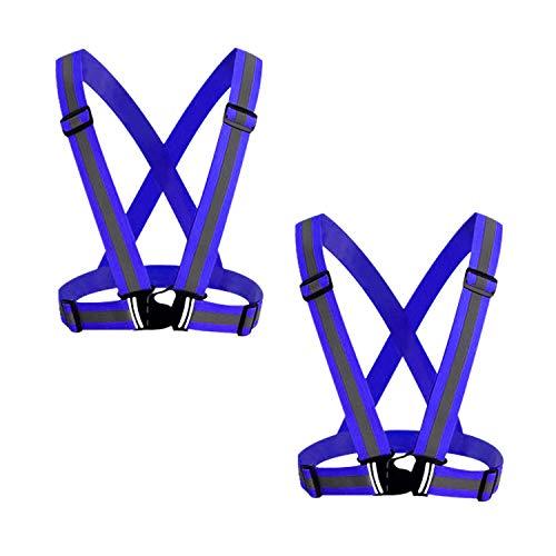 GOZAR 2 Piezas Reflexivo Chaleco Ajustable Alto Visibilidad Chaleco con Tiras Reflectantes Brillantes Equipo Transpirable Ligero para Noche Corriendo Construcción Ciclismo y Caminata-Azul Profundo