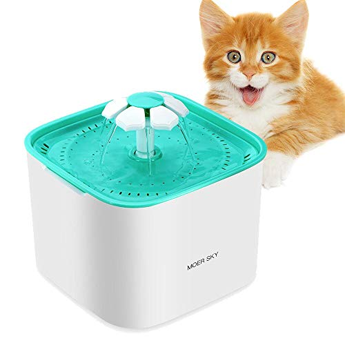 Pet Cat Water Fountain, Moer Sky 2L Automatic Dog Water Dispenser Electric Water Drinking Fountain...