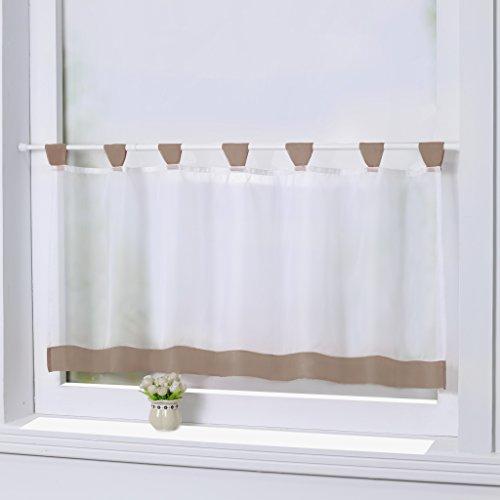 Joyswahl Bistrogardine Voile Schlaufen Scheibengardine Mia Küchen Transparenter Vorhang HxB 45x90cm Braun 1er Pack