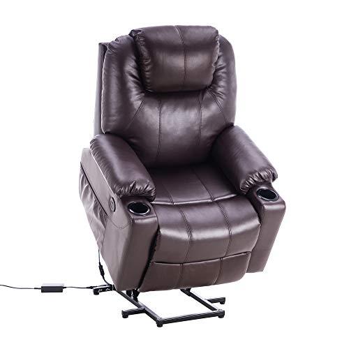 MCombo Elektrisch Aufstehhilfe Fernsehsessel Relaxsessel Massage Heizung elektrisch verstellbar USB Anschluss (Braun)