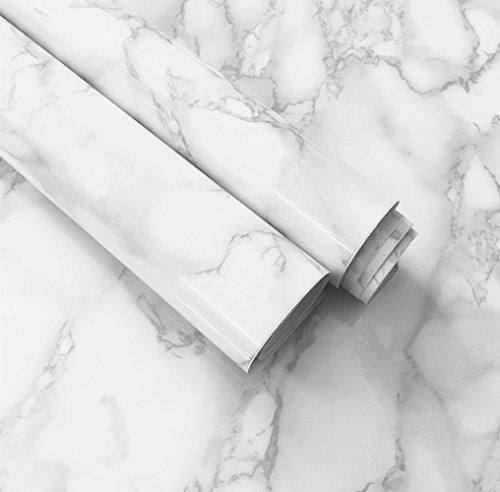 White Grey Marble Paper Adhesive Gloss Vinyl Wrap Film Kitchen Countertop Peel Stick Wallpaper Decal 12''x79'' (White)