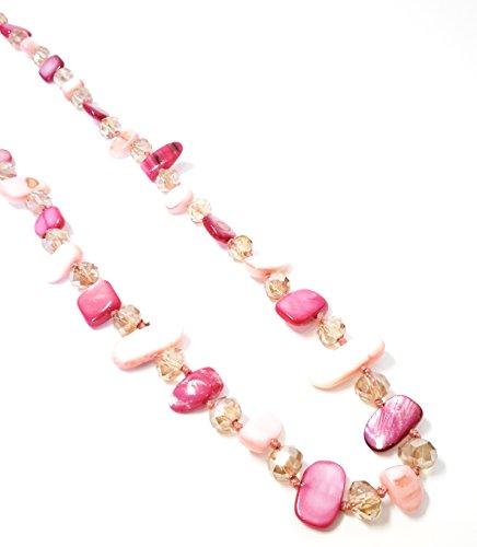 BRANDELIA Collares Largos de Colores Mujer Bisutería de Nácar y Perlas de Cristal, Fucsia Rosa