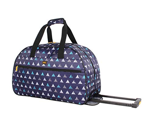 Lucas Designer Carry On Luggage Collection - Lightweight Pattern 22 Inch Duffel Bag- Weekender Overnight Business Travel Suitcase with 2- Rolling Spinner Wheels (Triangle)