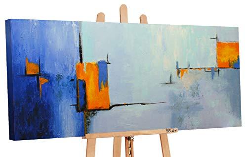 YS-Art Quadro Dipinto Con Colori Acrilici Ispirazione | 115x50cm | Muro | Mano | Arte Moderna | Tela| Unico| Azzurro