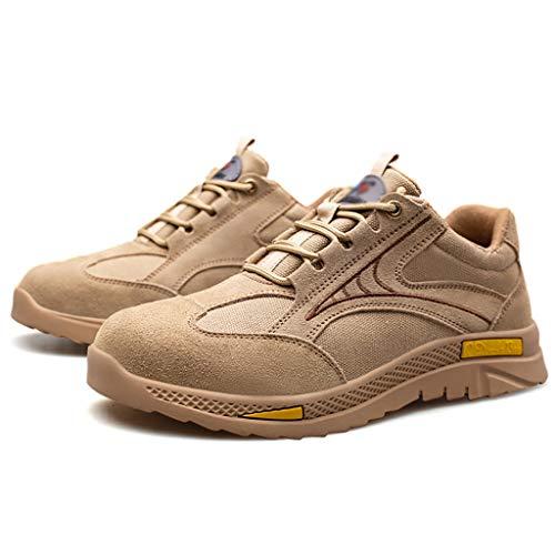 ZYFXZ 2021 hombres entrenadores de seguridad ligeros, tapa de punta de acero Zapatos de deportes de ocio al aire libre, mujer zapato de construcción industrial desodorante de verano zapatos de segurid