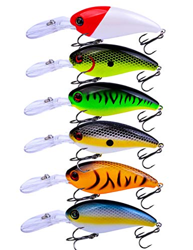Facikono Crankbait Bass Fishing Lures, Deep Diving Topwater Swimbait for Bass Trout Crappie Saltwater Freshwater Fishing