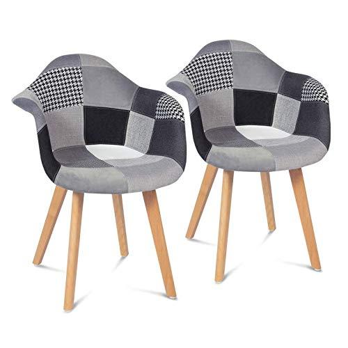 IDMarket - Lot de 2 fauteuils SARA Motifs patchworks Noirs, Gris et Blancs