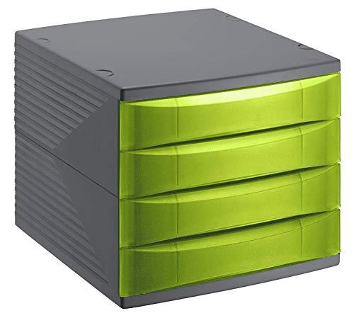 Rotho Quadra Schubladenbox / Bürobox mit 4 Schüben, Kunststoff (PS) BPA-frei, grün/schwarz, (36,5 x 28,0 x 25,0 cm)