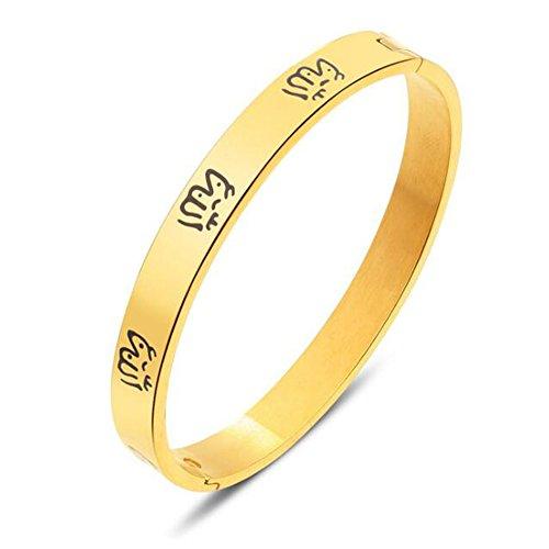 Religiöse Schmuck Edelstahl Islam Muslim Allah Armband Frauen Koran Armbänder Mädchen Armreif Damen Geschenke (Gold)