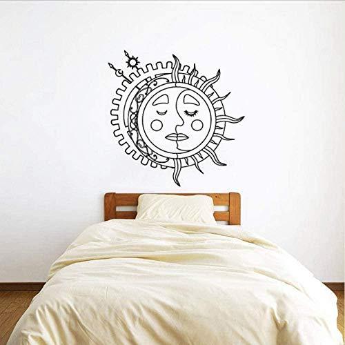 Adesivo Da Parete Orologio Carta Da Parati Murale Sun Moon Crescent Double Etnic Sunshine And Night Symbol Stars Art Home Bedroom Decor Fashion 56 * 57.cm