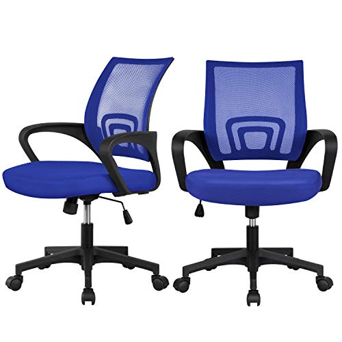 Yaheetech 2Pcs Ergonomic Adjustable Height Office Chairs, Mesh Desk Chair with Lumbar Support & 360° Rolling Casters for Workplace Blue
