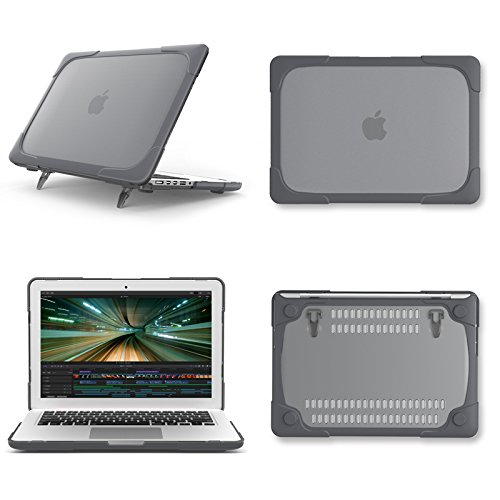 AUSMIX Macbook Pro Retina 13 inch Case (A1502/A1425), Hard Plastic & TPU Protective Case Kickstand Shockproof Matte Case Cover for Mac Pro 13.3 inch A1502/A1425 Retina Display, NO CD-ROM - Grey