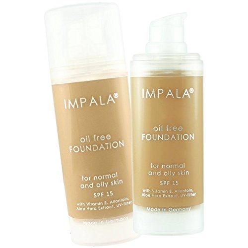 Impala Base Sin Aceite 02 Larga Duración con Vitamina E, Extracto de Aloe Vera y filtro UV Piel Grasa Normal