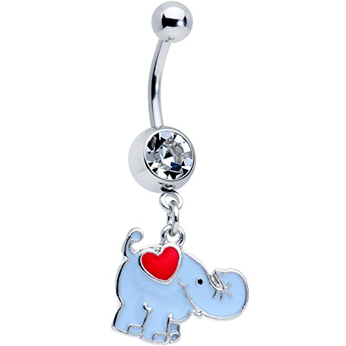 Body Candy Steel Clear Accent Red Heart Cartoon Elephant Belly Ring