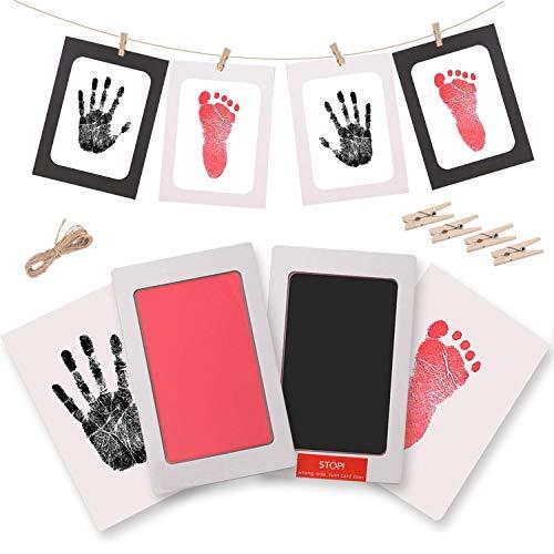 Baby Fußabdruck und Handabdruck, 2pcs Farbe Baby Fuß und Handabdruck Set mit Papier-Bilderrahmen, Ungiftig Inkless für Neugeborene 0-6 Monate Mädchen und Jungen