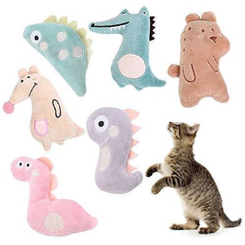 XLKJ 6 Pcs Juguete Catnip para Gatos Dientes para Masticar Limpios, Juguetes Simulación Peluches para Gatos, Juguete de Gatos para Todos los Gatos y Gatitos Adecuado