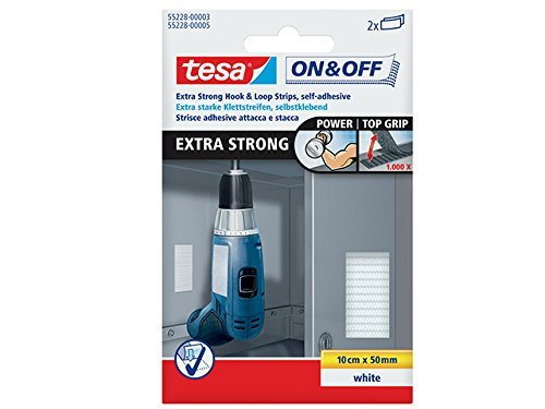 tesa 55228 On/Off Hook and Loop Extra Strong Strips - White by tesa UK