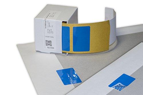 haggiy Siegel-Etiketten - Sicherheitsetikett 40 x 20 mm zum Nachweis von Manipulationsversuchen, 50 Stück in Spendebox (Blau)