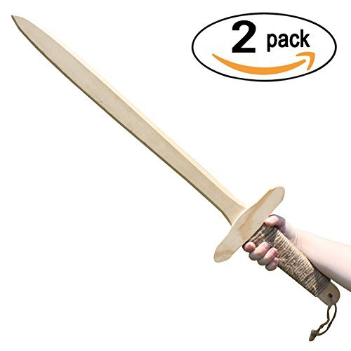 Adventure Awaits! - 2-Pack - Wooden Toy Sword - Handmade - Lightweight Wood Toy Sword Set for Outdoor Play