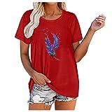 Camiseta larga para mujer con estampado de plumas rojo M