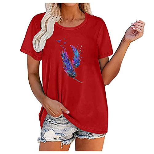 Camisetas Mujer Manga Corta Verano Camisetas Tops de Impresión con Cuello Redondo Ocasionales Blusas...
