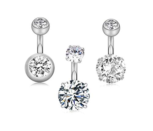"""14G 1/4""""(6mm) Short Bar Surgical Steel Belly Button Rings Round Cubic Zirconia Navel Barbell Stud Body Piercing (6mm bar,3Pcs Silver)"""