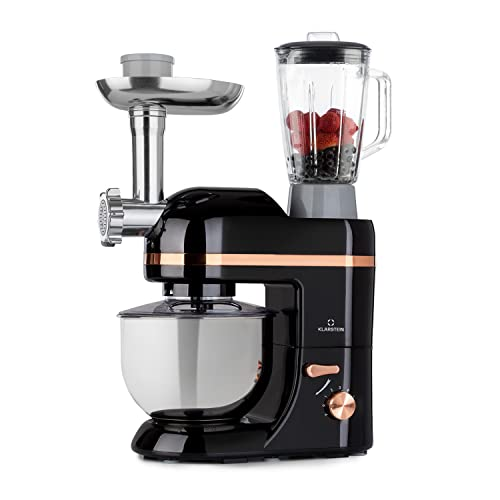 Klarstein Lucia Elegance - Robot de cocina, Robot cocina con potencia 1300 W, Robot cocina multifunción con 5 L de capacidad, 6 niveles, 3 accesorios de mezcla, Protector contra salpicaduras, Negro