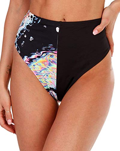 iHeartRaves Liquid Tripp Splice High Waisted Bottoms (Black, 3X)