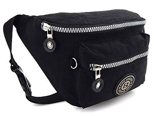 - Leichte Hüfttasche Gürteltasche für Damen und Herren geeignet für Sport Camping Wandern Fitness Fahrrad Reisen, Wasserabweisend (Schwarz)