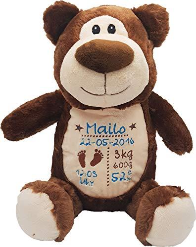 Cubbies Stofftier Teddy Bär, Einhorn, Rentier, Hase, Giraffe, Tiger, Elefant Geschenk mit Namen und Geburtsdatum personalisiert Bestickt 40cm (Bär 2 Junge)