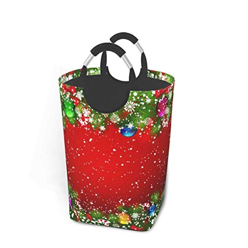 N\A Dujiea Large Laundry Basket Tall, Christmas Tree Ball Collapsible Laundry Hampers with Aluminium Handles Big Clothes Basket Kids Laundry Bin Round Storage Basket for Dorm Room Clothing