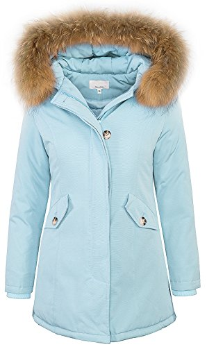 Rock Creek Selection Damen Echtfell Winter Jacke Parka Kapuze Designer Damenjacke Outdoor [D-204 - SkyBlue - Gr. M]
