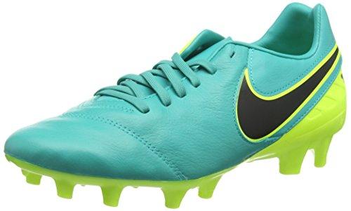 Nike Herren Tiempo Mystic V Leder Fester Boden Fußballschuhe, Türkis (Clear Jade türkis/Volt gelb/schwarz), 40.5 EU