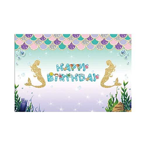 JIAHUI Telones de fondo para fotografía, castillo subacuático, algas marinas, burbujas de fotos, fotos, fotos, fotos de cumpleaños para bebés (color NWH03201, tamaño: tela fina de 120 x 80 cm)