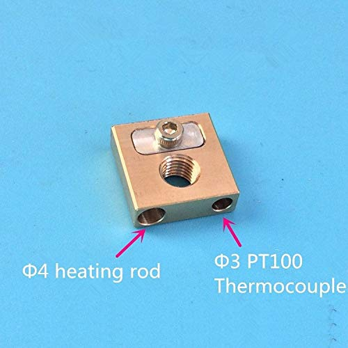 L-TAO-PULLEY, 1pc UM3 Brass Nozzle Copper Head Heater Block Copper Block 4MM Heated Block (Size : M6X0.75 fine thread)