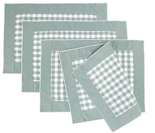 Fennco Styles Handmade Reversible Buffalo Plaid Solid Border Placemats 14' W x 20' L, Set of 4 - Sage Check Farmhouse Table Mats for Home, Dining Table, Banquet, Gathering and Special Occasion