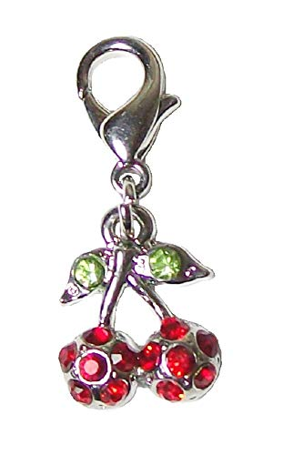 Clip auf Verschluss Kirschfrucht Charms Baumeln für Halskette Anhänger Armband Schmuckherstellung Frauen Mädchen – Rot