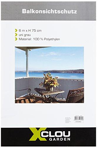 greemotion Balkonschutz aus hochwertigem Polyethylen, Sichtschutz mit den Maßen 600 x 75 x 1 cm, wetterbeständige Schutzplane zur Anbringung an Zäunen, Balkonen und Terrassen, luftdurchlässige Balkonumspannung, Markise in der Farbe grau, 124967