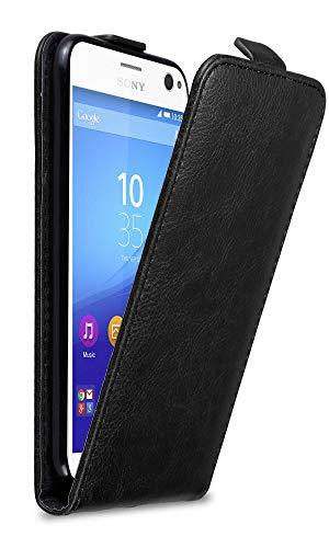 Cadorabo Hülle für Sony Xperia C4 in Nacht SCHWARZ - Handyhülle im Flip Design mit Magnetverschluss - Hülle Cover Schutzhülle Etui Tasche Book Klapp Style