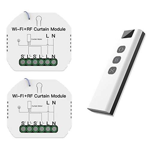 Domilay MóDulo de Interruptor de Cortina de Persiana Enrollable WiFi RF Tuya con Interruptor de Cortina Inteligente WiFi Remoto Control de AplicacióN Tuya