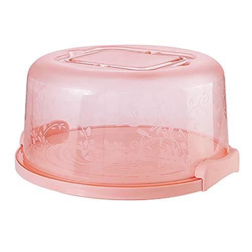 ZSZJ Flasche Kuchen Aufbewahrungsbox Runder Küche Backbehälter Halter Kuchen Box Cupcake Dessert Fruchtspeicherungsträger Lager (Color : Pink)