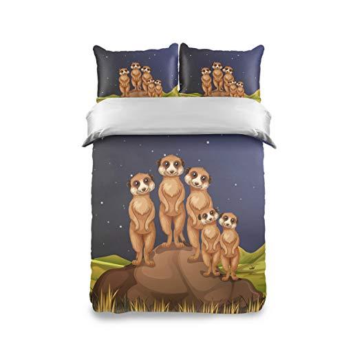 FCZ 3-teiliges Bettwäsche-Set für Kinder, Pfirsichhaut, Erdmännchen, stehend, für Mädchen, Jungen, Kinder, Teenager (Doppelpack)