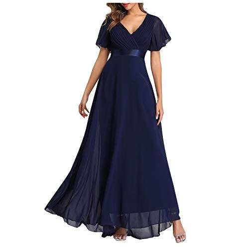 KI-8jcuD Feestjurk voor dames, midi-chiffon-jurk, effen, zakelijke jurk, korte mouwen, knielange cocktailjurk, lange maxi-jurk.