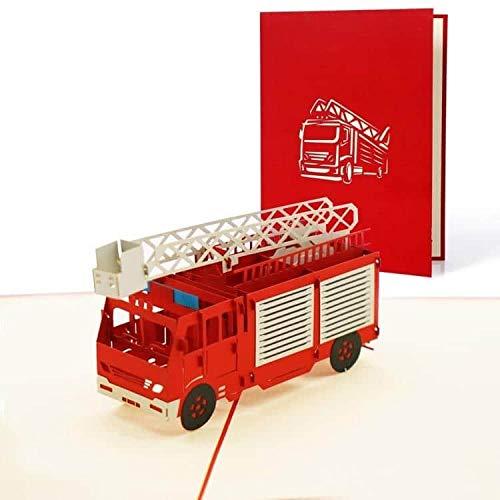 Geburtstagskarte mit Feuerwehrauto, 3D Pop-Up Einladung Kindergeburtstag, Einladungskarte, Gutschein, Glückwunschkarte, Grußkarte, Geschenkkarte, T15