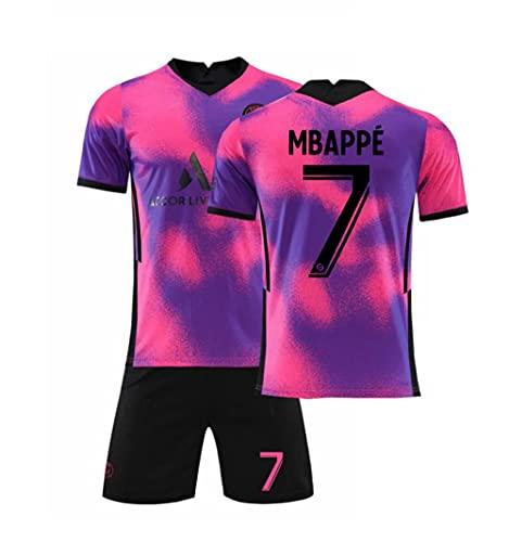 CHQTG Herren Fußball Jersey Fußball # 7 Mbappé Gedenkhemd Kits Weiche Atmungsaktive Klassische Trainingsbekleidung Erwachsene Kinder Fußballhemd Kids-Pink_Lila_28