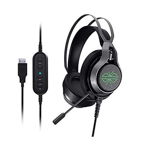 Jszzz Casque de Jeu, avec l'annulation de Son Surround, Le Son Surround et Le contrôle du Microphone, Casque de Jeu monté sur la tête avec des lumières LED, Compatible avec PC / PS4 / Xbox One