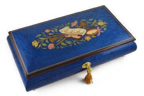 MusicBoxAttic Hermosa Caja de música con Incrustaciones de Madera de Instrumentos y Flores de Color Azul Real, más de 400 Opciones de Canciones, 159. Here Comes The Sun