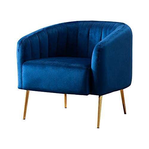 LSSPAID Velvet Accent Chairs, Fabric Upholstered Chairs, Curved Tufted Chairs, Modern Armchairs with Golden Finished Metal Legs for Living Room Bedroom Home Office, Navy Blue, Set of 1