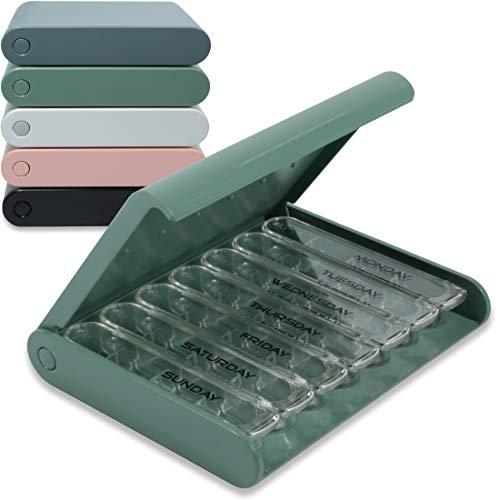 24/7 MEDICASE Danish Design Pill Box 7 days - English Version (Dusty Green)