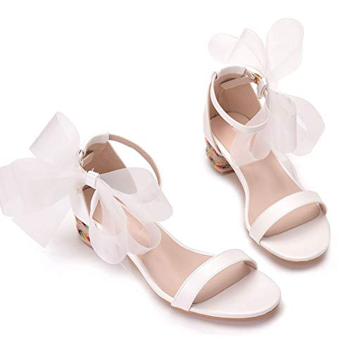 Nuomeisi Women's Bridal Shoes,Women's Court Shoes,4cm Temperament White Bow Shallow Heel Sandals Wedding Shoes Mary Jane Pumps,Clubbing Evening Wedding Party Dress Big Sizes Bridesmaid Shoes,36 EU